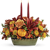 Teleflora's Country Oven Centrepiece Flowers