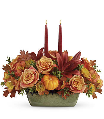 Teleflora's Country Oven Centerpiece Flowers