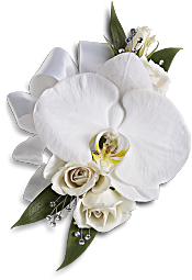 White Orchid and Rose Corsage Flowers