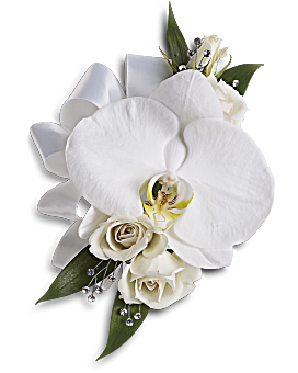 Prom flowers corsages boutonnieres teleflora quick view white orchid and rose corsage corsage mightylinksfo