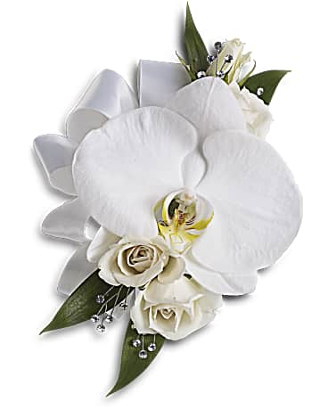 White Orchid And Rose Corsage Teleflora