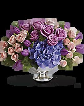 Centre de table avec arrangement floral floral Élégance violette de Teleflora