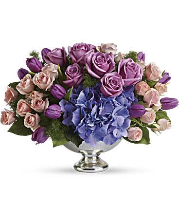 Telefloras Purple Elegance Centerpiece Flower Arrangement Teleflora