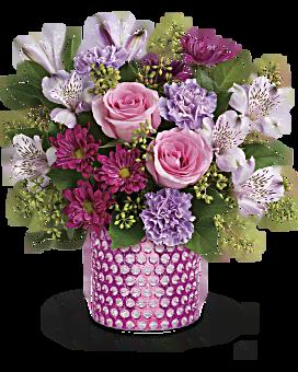 de Teleflora bouillonnant au-dessus de bouquet