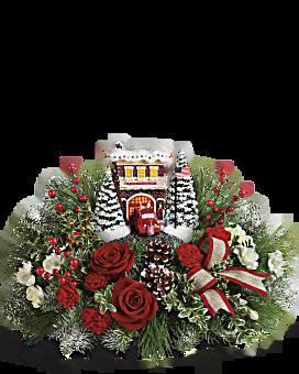 Thomas Kinkade's Festive Fire Station Bouquet Flower Arrangement