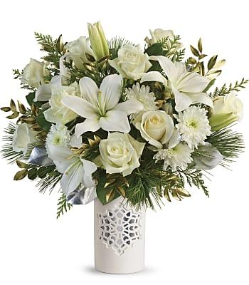 Teleflora's White Snowflake Bouquet Flowers