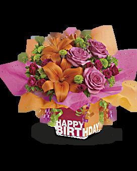 Arrangement floral Cadeau d'anniversaire rosé de Teleflora