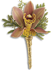 Sunset Orchid Boutonniere Flowers