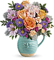 Teleflora's Busy Bee Pitcher Bouquet DX Flowers