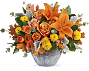 Teleflora's Golden Bounty Centerpiece Flowers