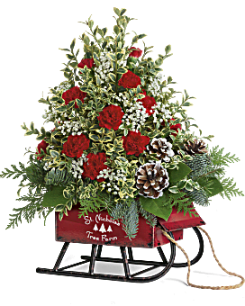 Teleflora's Snowy Sleigh Tree Bouquet