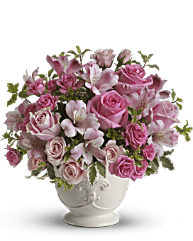 Bouquet Pot-pourri rose avec arrangement floral de roses de Teleflora