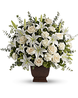 White flowers in beautiful arrangements teleflora quick view telefloras loving lilies and roses bouquet flower arrangement mightylinksfo Image collections