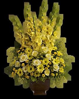 Yellow funeral flowers arrangements teleflora quick view telefloras sunny memories flower arrangement mightylinksfo