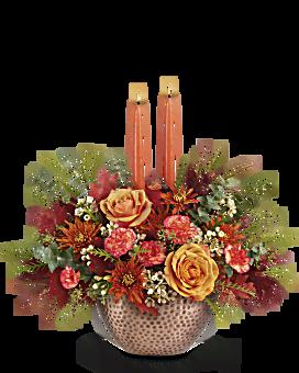 Teleflora's Gleaming Copper Centerpiece Bouquet