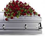 Red Rose Reverence Casket Spray Flowers