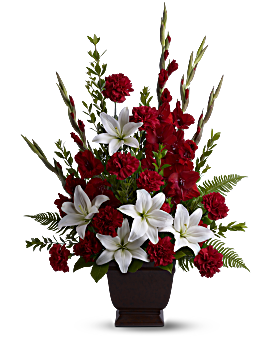 Red and white funeral flowers teleflora quick view telefloras tender tribute flower arrangement mightylinksfo