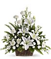 Peaceful White Lilies Basket Flowers