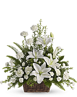 Peaceful White Lilies Basket Basket Arrangement