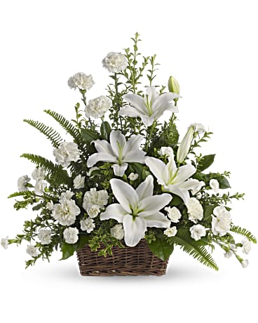 Peaceful White Lilies Basket Teleflora