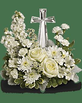 White flowers in beautiful arrangements teleflora quick view telefloras divine peace bouquet flower arrangement mightylinksfo Image collections