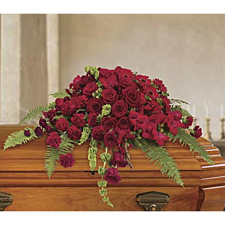 Red Rose Sanctuary Casket Spray Sympathy Arrangement