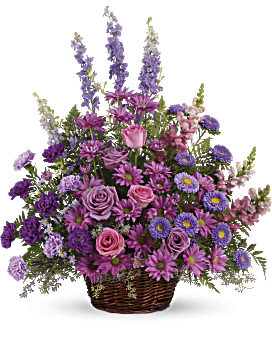 Gracious Lavender Basket Basket Arrangement