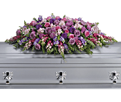 Lavender Tribute Casket Spray Flowers