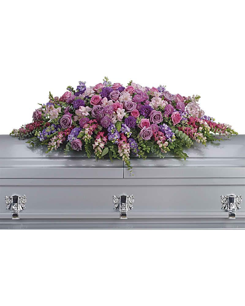 Lavender Tribute Casket Spray Sympathy Arrangement Teleflora
