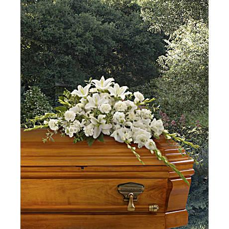 bountiful memories casket spray sympathy arrangement - teleflora