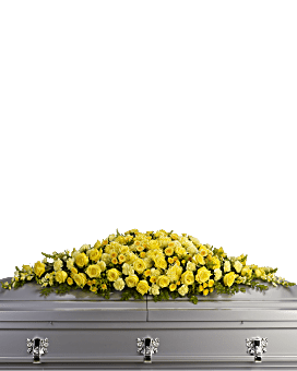 Golden Garden Casket Spray Sympathy Arrangement