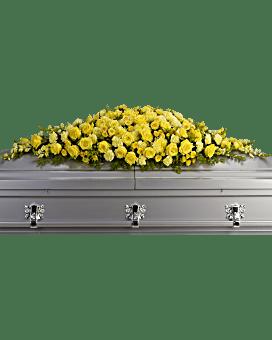 Golden Garden Casket Spray Sympathy Arrangement