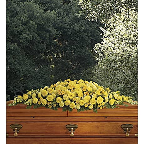 golden garden casket spray sympathy arrangement teleflora - Golden Garden