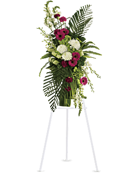 Gerberas and Palms Spray Sympathy Arrangement
