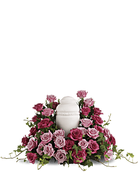Bed of Pink Roses Sympathy Arrangement