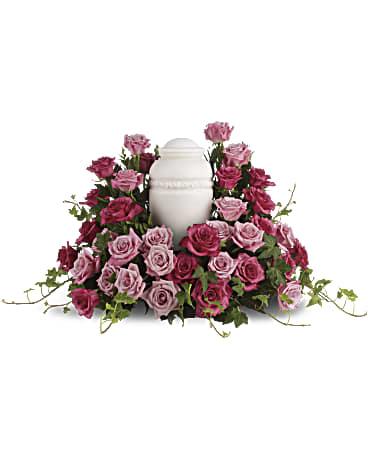 Bed of pink roses sympathy arrangement teleflora bed of pink roses sympathy arrangement mightylinksfo