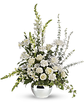Your love will be warmly felt by the family with this lovely gift of white roses and other favorites in a silver jardiniere vase. Tasteful and elegant, it is a beautiful choice. Funeral Flowers - Serene Reflections Bouquet - White - Flower Delivery By Teleflora