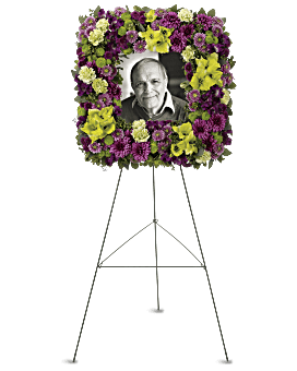 Mosaic of Memories Square Easel Wreath Sympathy Arrangement