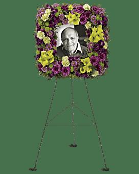 Mosaic of Memories Square Easel Wreath Sympathy Arrangement
