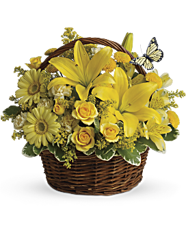 Yellow flower arrangements are so happy teleflora quick view basket full of wishes basket arrangement mightylinksfo