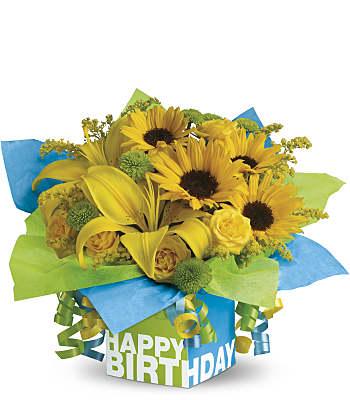 Teleflora's Sunny Birthday Present Flowers