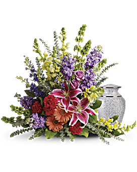 Send your warmest wishes and celebrate a special life with this colorful combination of lilies, roses and snapdragons-an absolutely gorgeous arrangement for the service or home. Funeral Flowers - Shades Of Faith - Multi - Flower Delivery By Teleflora