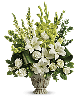 As serene as gently falling snow, this elegant white arrangement in a large antiqued pot is a heartfelt symbol of peace and beauty, a memory that will remain a guiding light to your loved ones for years to come. Sympathy Flowers - Clouds Of Heaven Bouquet - White - Flower Delivery By Teleflora