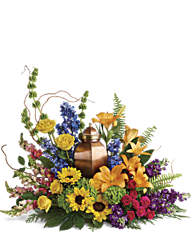 With All Our Hearts Cremation Tribute Sympathy Arrangement
