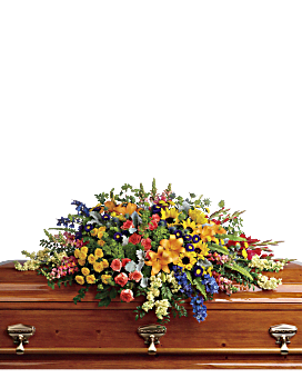 Colorful Reflections Casket Spray Sympathy Arrangement