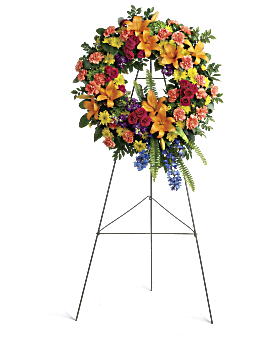 Colorful Serenity Wreath Sympathy Arrangement