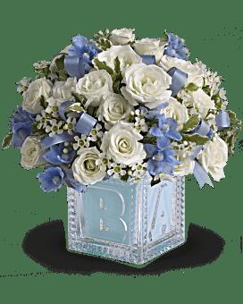 Le premier bloc de bébé de Teleflora - bouquet bleu