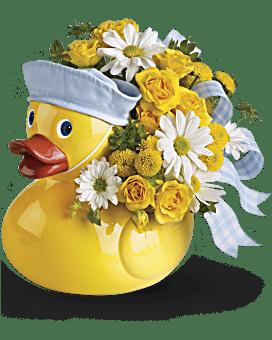 Le joli petit canard de Teleflora - arrangement floral pour garçon