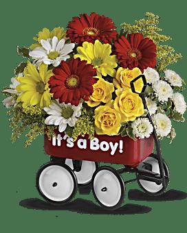 Vive le Wagon de bébé de Teleflora - arrangement floral pour garçon