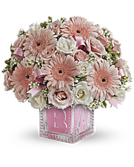 baby s first block by teleflora pink bouquet teleflora